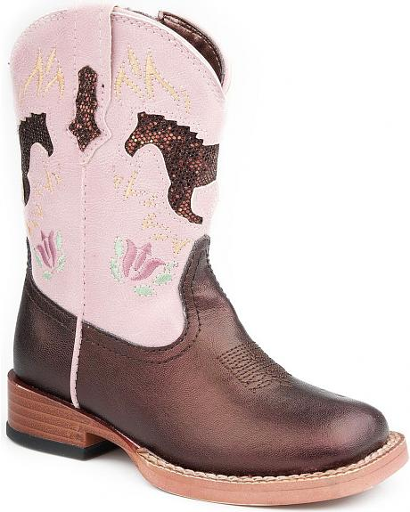 Roper Infant Girls' Brown Sparkly Horse Inlay Cowgirl Boots