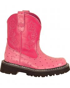 Roper Children's Faux Ostrich Print Cowgirl Boots