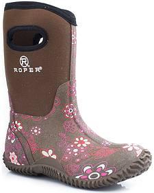 Roper Girls' Pink Floral Neoprene Boots