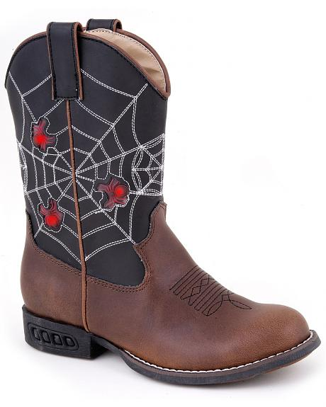 Roper Boys' Light Up Spider Web Cowboy Boots - Round Toe