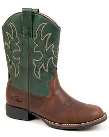 Roper Boys' Green & Brown Cowboy Boots