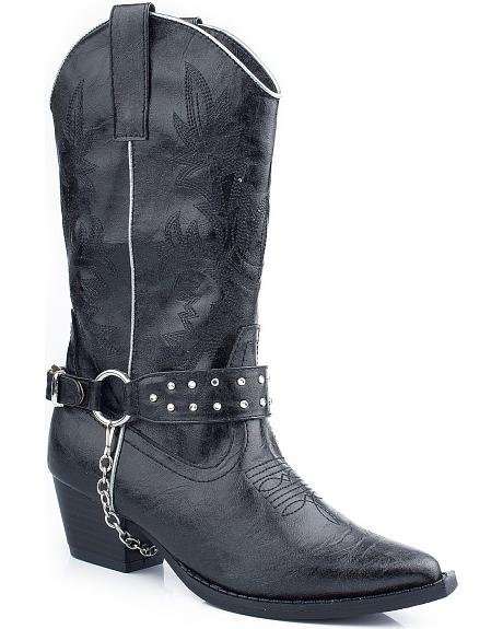 Roper Girls' Black Bling Chain Cowgirl Boots - Pointed Toe