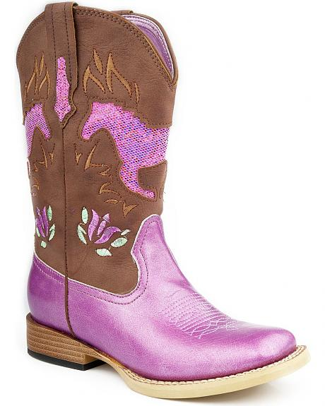 Roper Children's Pink Glittery Horse Inlay Cowgirl Boots