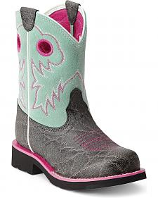 Ariat Youth Girls' Elephant Print Fatbaby Cowgirl Boots - Round Toe