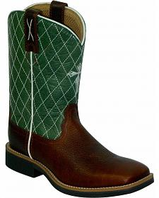 Twisted X Boys' Green Cowkid Work Boots - Square Toe