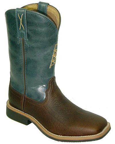 Twisted X Youth Blue Cowkid Work Boots Square Toe Western & Country YCW0003