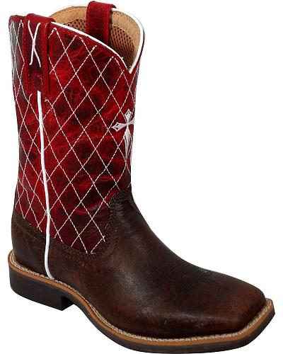 Twisted X Childrens Red Cowkid Work Boots Square Toe Western & Country CCW0005