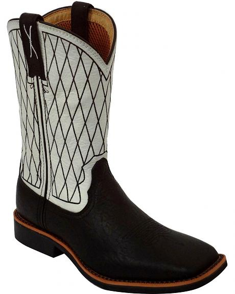 Twisted X Boys' White Cowkid Work Boots - Square Toe
