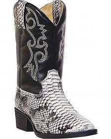 Laredo Boys' Rattlesnake Print Cowboy Boots - Round Toe