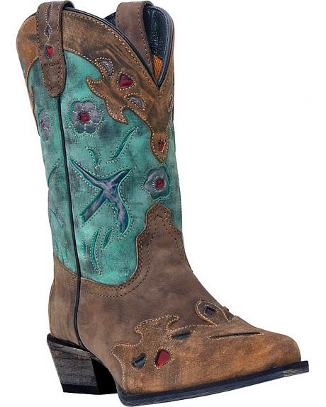 Dan Post Youth Girls' Blue Bird Cowgirl Boots - Snip Toe