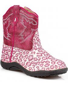 Roper Infant Girls' Glittery Leopard Print Cowgirl Boots