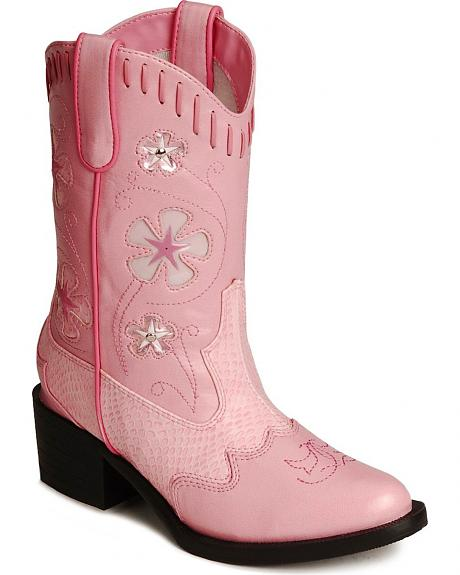 Roper Infant Girls' Floral Inlay Light Up Cowgirl Boots - Round Toe