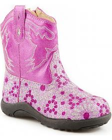 Roper Infant & Toddler Glittery Floral Cowgirl Boots - Round Toe