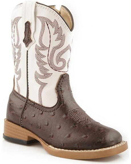 Roper Toddler Girls' Faux Ostrich Cowboy Boots - Square Toe