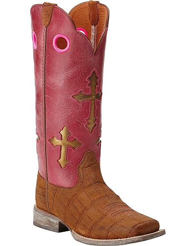 Ariat Childrens Ranchero Cross Gator Print Cowgirl Boots Square Toe Western & Country 10014121C