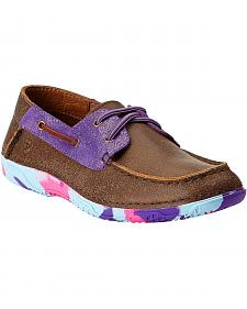 Ariat Girls' Pink & Purple Camo Sole Caldwell Boat Shoes