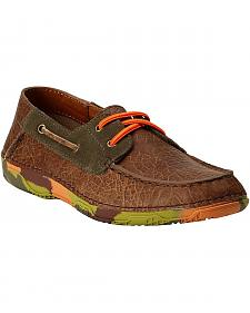 Ariat Youth Boys' Orange & Green Camo Sole Caldwell Boat Shoes