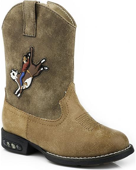Roper Toddler Light Up Bull Rider Cowboy Boots - Round Toe