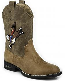 Roper Boys' Light Up Bull Rider Cowboy Boots - Round Toe
