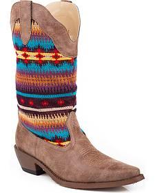 Roper Kids' Aztec Knit Cowboy Boots - Snip Toe