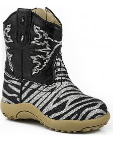 Roper Infant Girls' Glittery Zebra Print Cowgirl Boots