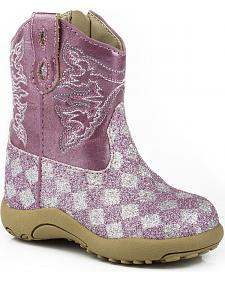 Roper Infant Girls' Glittery Checkerboard Cowgirl Boots