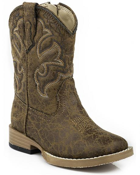 Roper Toddler  Boys' Distressed Faux Leather Cowboy Boots - Square Toe