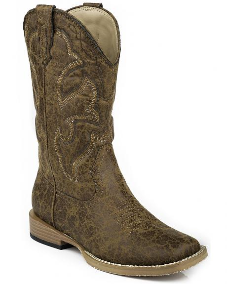 Roper Youth Boys' Distressed Faux Leather Cowboy Boots - Square Toe