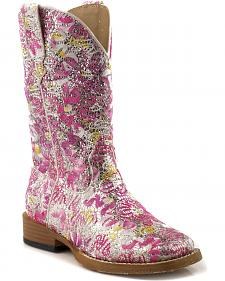 Roper Girls' Glittery Floral Cowgirl Boots - Square Toe