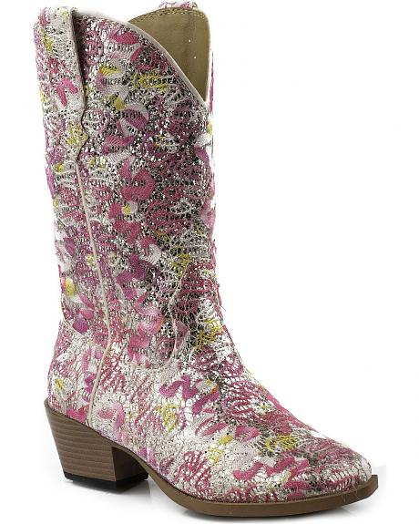 Roper Girls' Glittery Floral Cowgirl Boots - Snip Toe