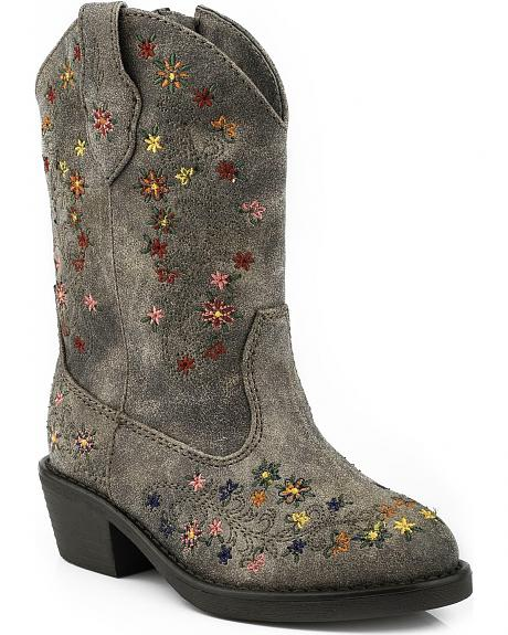 Roper Toddler Girls' Floral Embroidered Cowgirl Boots - Round Toe