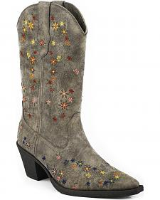 Roper Girls' Floral Embroidered Cowgirl Boots - Snip Toe