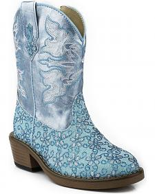 Roper Toddler Girls' Blue Floral Glitter Cowgirl Boots - Round Toe