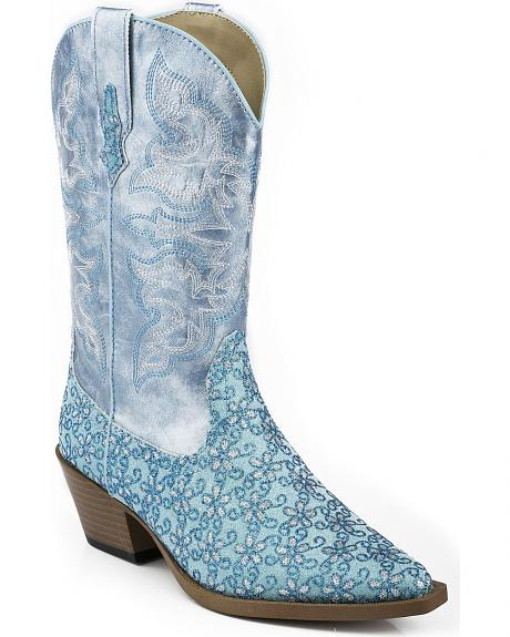 Roper Girls' Blue Floral Glitter Cowgirl Boots - Snip Toe