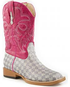 Roper Girls' Glittery Checkerboard Cowgirl Boots - Square Toe