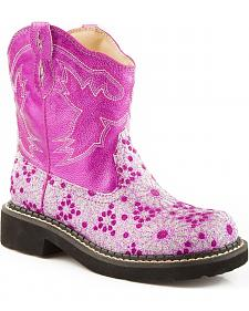 Roper Children's Chunk Glittery Flower Cowgirl Boots - Round Toe
