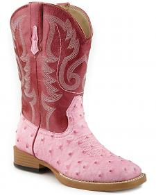 Roper Girls' Ostrich Print Cowgirl Boots - Square Toe
