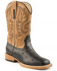 Roper Youth Ostrich Print Cowboy Boots - Square Toe