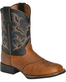 Justin Boys' Mahogany Black Cowboy Boots - Square Toe