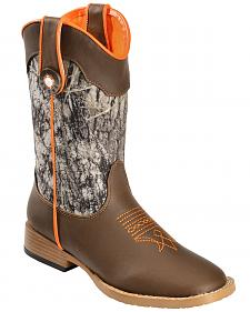 Double Barrel Boys' Buckshot Side Zipper Cowboy Boots - Square Toe