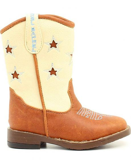 Double Barrel Toddler Boys' Lone Star Inlay Side Zipper Cowboy Boots - Square Toe