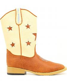 Double Barrel Boys' Lone Star Cowboy Boots - Square Toe