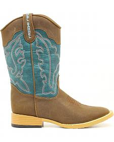 Double Barrel Youth Open Range Cowboy Boots - Square Toe