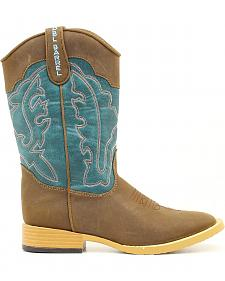 Double Barrel Boys' Open Range Side Zipper Cowboy Boots - Square Toe