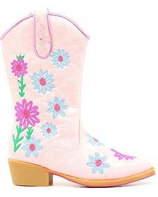 Blazin Roxx Youth Girls' Daisy Floral Embroidered Cowgirl Boots - Snip Toe