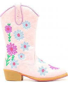 Blazin Roxx Girls' Daisy Floral Embroidered Cowgirl Boots - Snip Toe