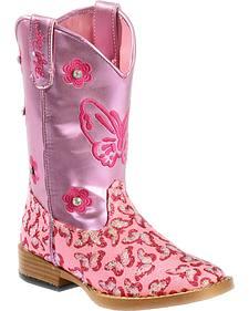 Blazin Roxx Girls' Pink Pecos Glitter Cowgirl Boots - Square Toe