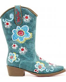 Blazin Roxx Youth Girls' Sage Floral Embroidered Cowgirl Boots - Snip Toe