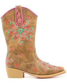Blazin Roxx Girls' Savvy Embroidered Zipper Cowgirl Boots - Snip Toe