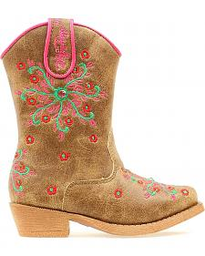 Blazin Roxx Toddler Girls' Savvy Embroidered Zipper Cowgirl Boots - Snip Toe